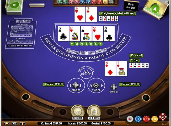Video Poker hos Unibet